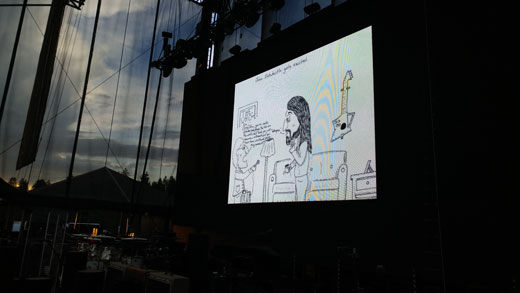 John Entwistle cartoon at The Who concert at Harveys in Lake Tahoe, Nevada