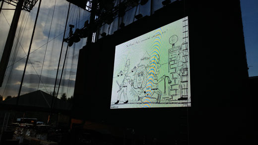 Roger Daltrey cartoon at The Who concert at Harveys in Lake Tahoe, Nevada