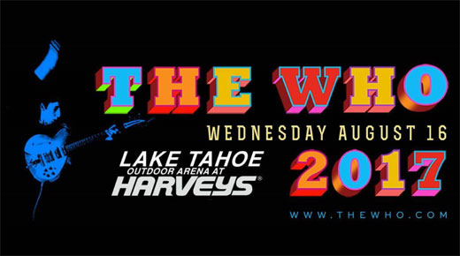 The Who 2017 Lake Tahoe, Nevada concert advertisement