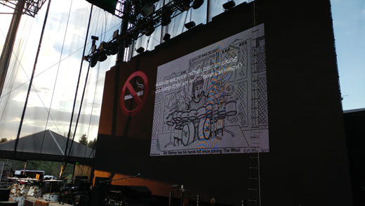 Zak Starkey cartoon at The Who concert at Harveys in Lake Tahoe, Nevada